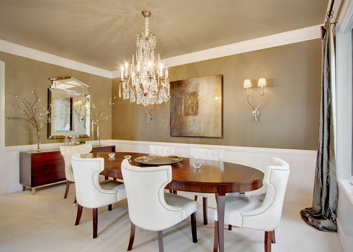 dark wooden dining room chairs used computer modern & unique chandeliers combined with oval table - decolover.net