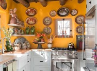 Mexican kitchen decor with red cabinet paint | Decolover.net