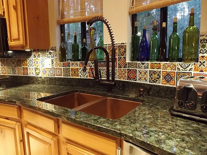 mexican backsplash tiles kitchen small bar decor with red cabinet paint - decolover.net