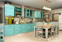 Turquoise kitchen decor with turquoise wall paint ...