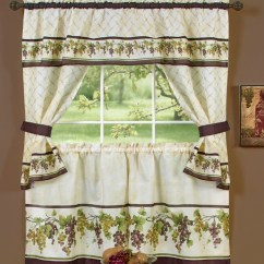 Grape Decor For Kitchen Faucet Wine Themed Curtains With Fruit Print ...
