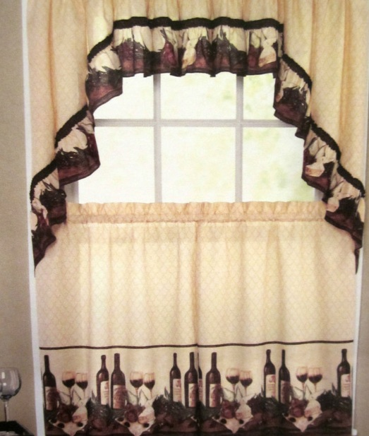 Wine Themed Kitchen Curtains With Tuscan Color Decolover Net