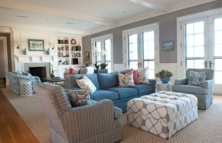Blue And Grey Living Room With Brown Patterned Carpets Decolover Net Part 46
