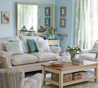 Blue and grey living room with brown l shape sofa ...