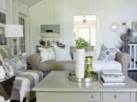 Cottage style living rooms with wood plank wall fireplace ...