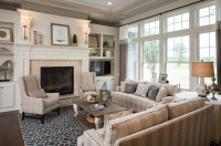 Country chic living room design with beautiful fireplaces ...