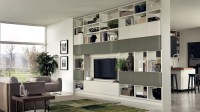 Floor to ceiling room dividers with tv wall shelves ...