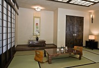 Japanese style living room with traditional pendant light ...