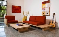 Sofa designs for small living rooms with round wooden ...