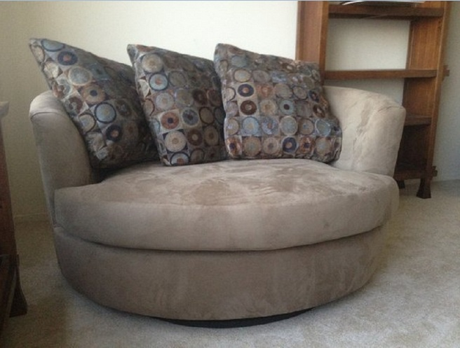 Oversized leather swivel chair for living room with