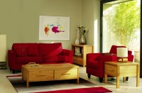 Red sofa designs for small living rooms with wooden coffee ...