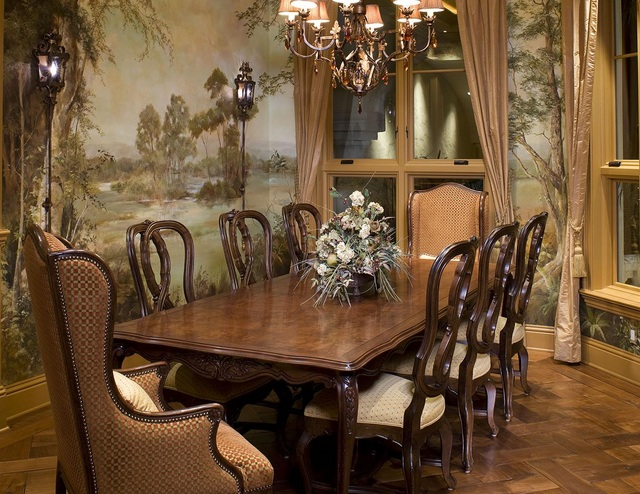 Red And White Decor For Small Formal Dining Room