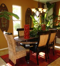 Small formal dining room ideas with stone wall decor ...