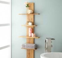 Decorative bathroom shelves with wood standing corner