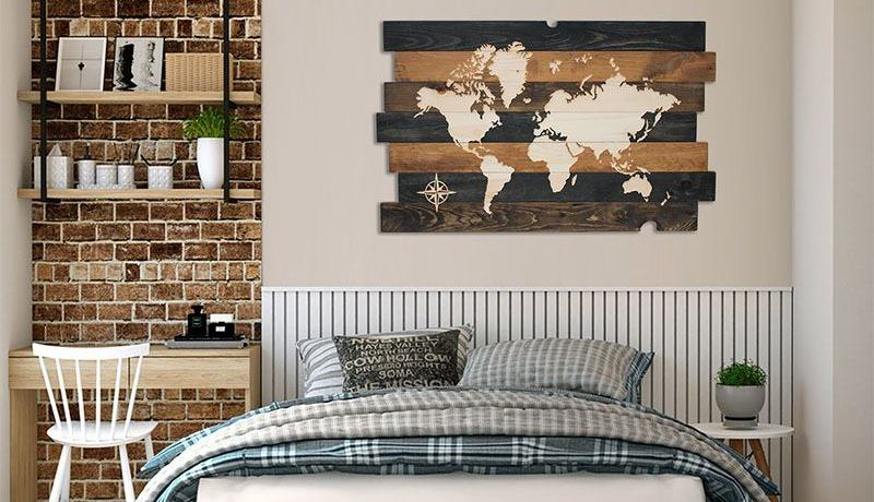 Carte du monde bois recyclé, world map recycled wood