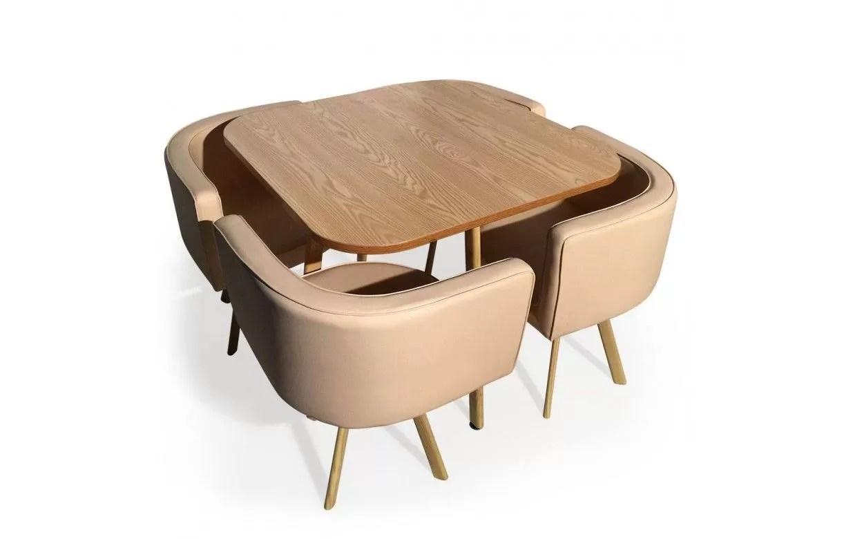 Table Et 4 Chaises Encastrables Scandinaves