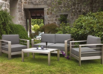 Salon De Jardin Gris Et Rose | Gris Et Marron Simple Lot De Chaises ...