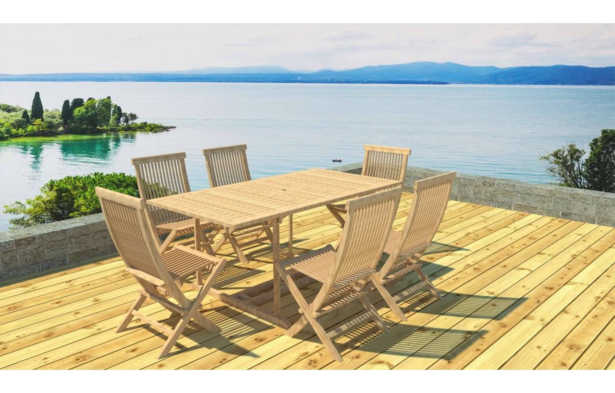 Table De Jardin Bois Teck   Soldes Table à Manger De Jardin 220 Cm ...