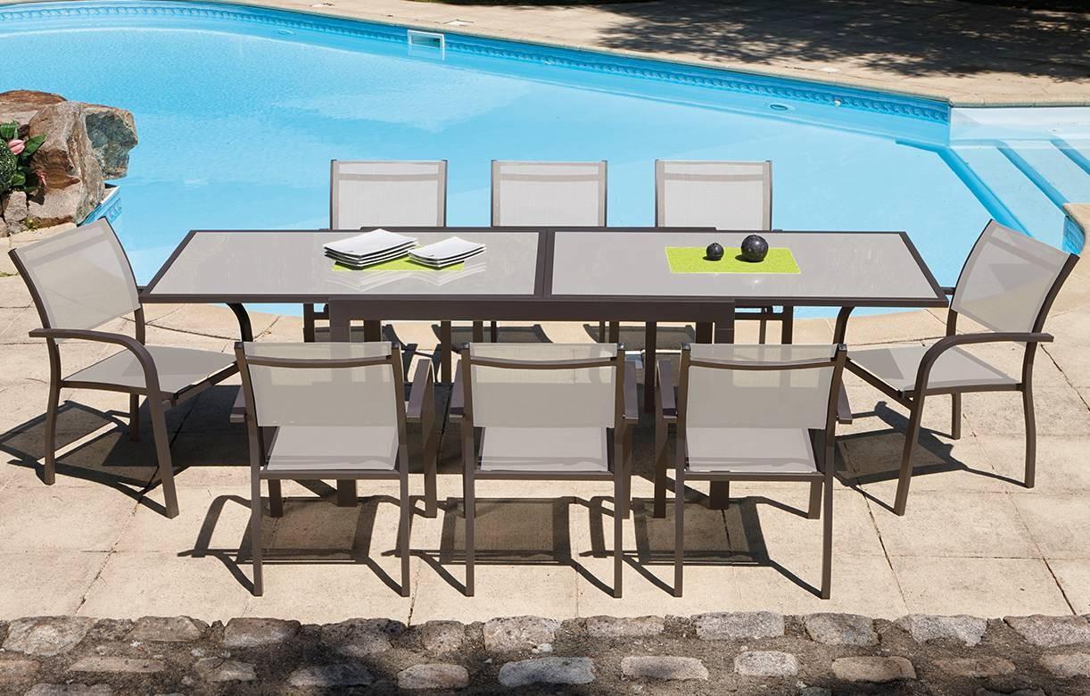 Table De Jardin Extensible En Verre Trempe | Table Repas Verre Blanc ...