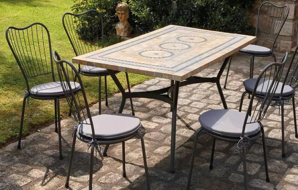 Table De Jardin Rectangulaire En Mosaique | Table De Jardin En Fer ...