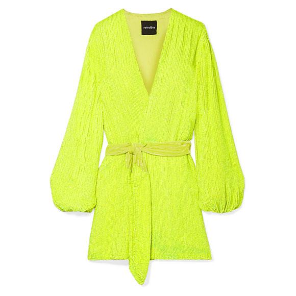 Mini-robe portefeuille sequin jaune