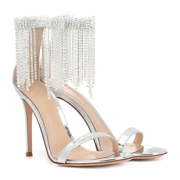 Sandales en cuir métallisé