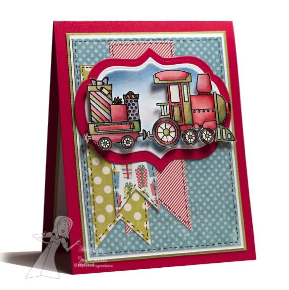 Christmas Train, handmade Christmas card by Jen Shults
