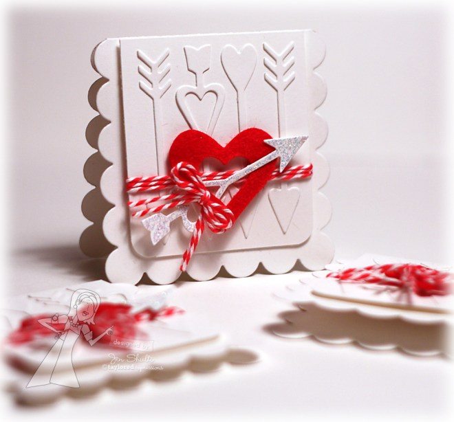 Cupid's Arrow Valentine, handmade card by Jen Shults