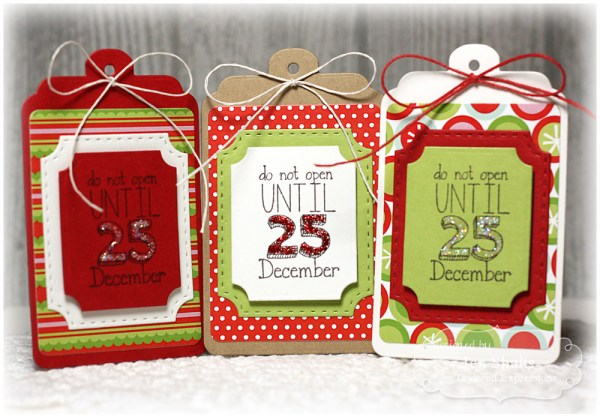 Christmas package tags by Jen Shults