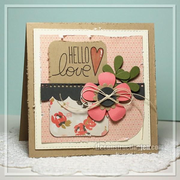 Hello Love by Jen Shults, handmade card