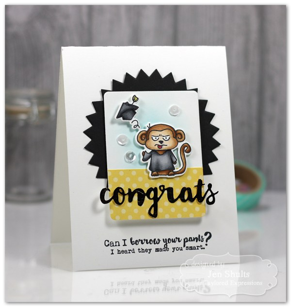 Congratulations Grad! handmade card using stamps and dies from Taylored Expressions