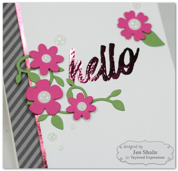 Hello handmade card, Deco Foil & Taylored Expressions