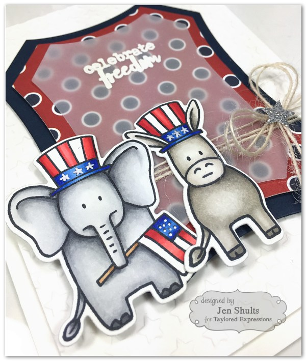 Celebrate Freedom handmade card using stamps and dies from Taylored Expressions