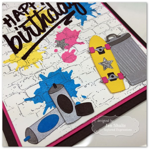 80's Birthday Card handmade using stamps and dies from Taylored Expressions