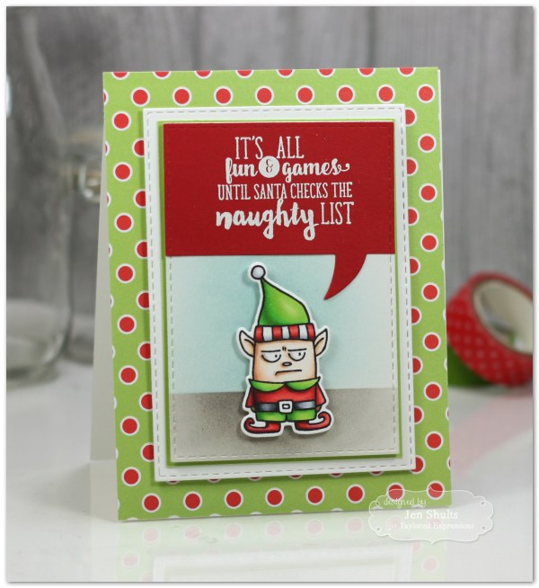 Naughty List by Jen Shults, handmade Christmas card