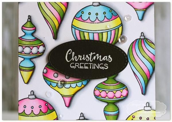 Christmas Greetings by Jen Shults, handmade Christmas Card