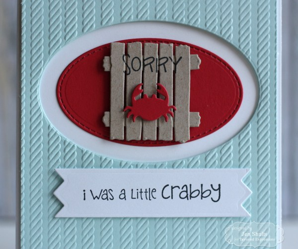 A Little Crabby, handmade card by Jen Shults | Deconstructingjen.com using stamps and dies from Taylored Expressions