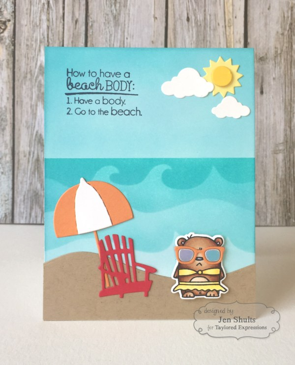 Beach Body by Jen Shults   deconstructingjen.com    handmade card   stamps and dies from Taylored Expressions