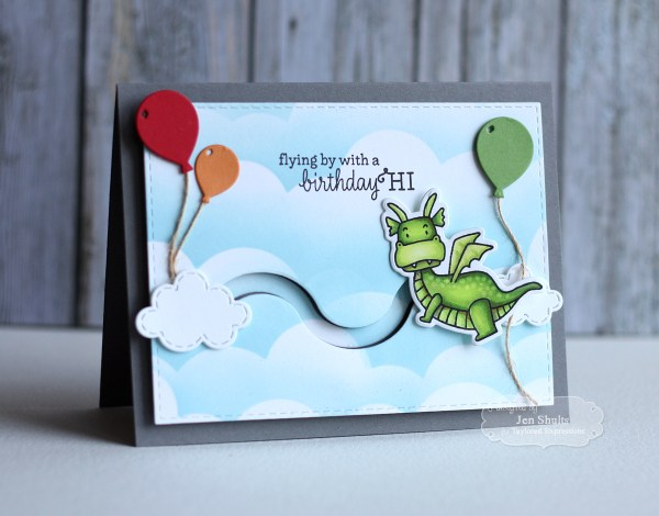 Flying By With a Birthday Hi by Jen Shults | Deconstructingjen.com Handmade Birthday Card, Stamps and dies from Taylored Expressions