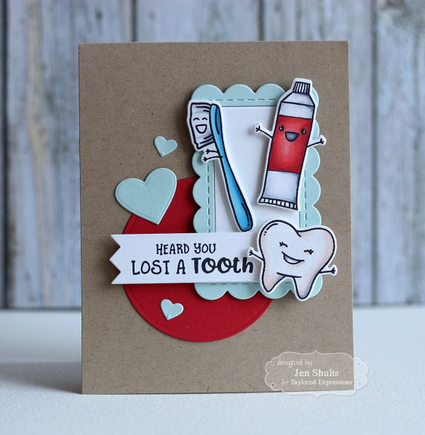 Lost a Tooth, handmade card by Jen Shults | deconstructingjen.com | Stamps and dies from Taylored Expressions