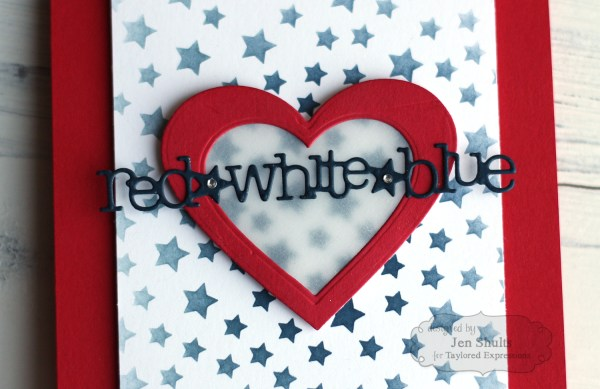 Red White and Blue by Jen Shults, handmade card using supplies from Taylored Expressions, 4th of July, Independence Day, patriotic