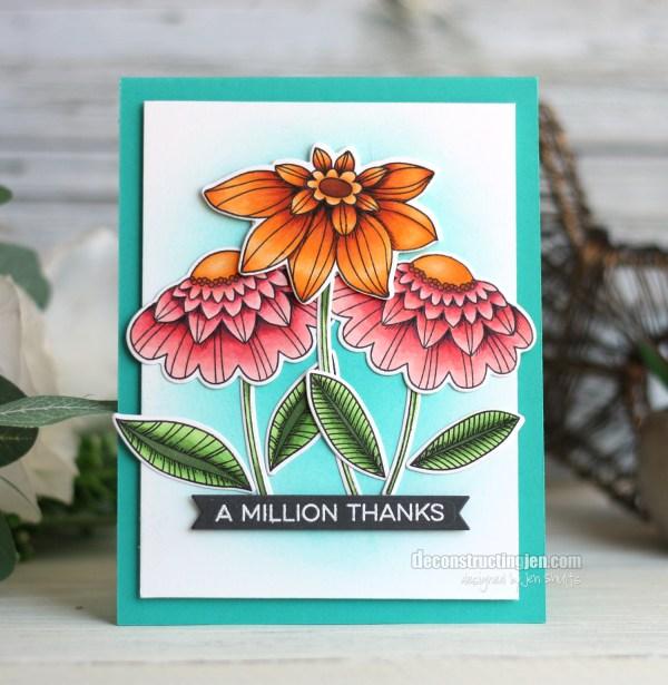A Million Thanks, handmade card