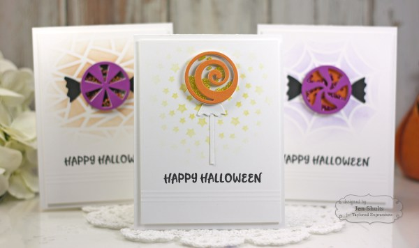 Happy Halloween shaker card by Jen Shults, stamps and dies from Taylored Expressions. Deconstructingjen.com
