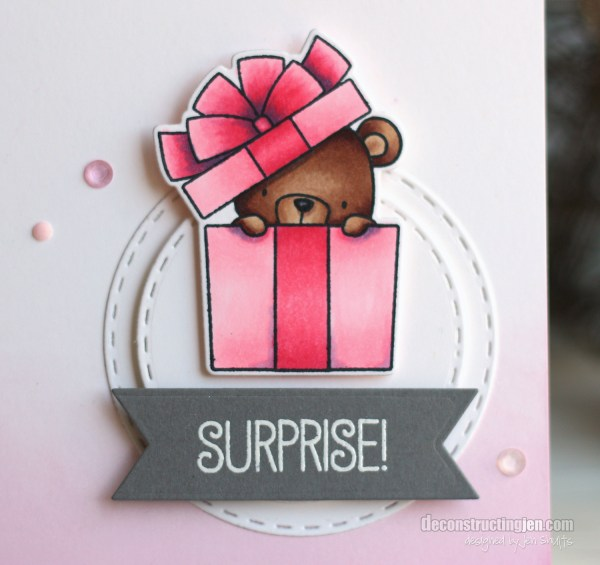 Surprise, handmade birthday card, baby girl, little girl, MFT Stamps