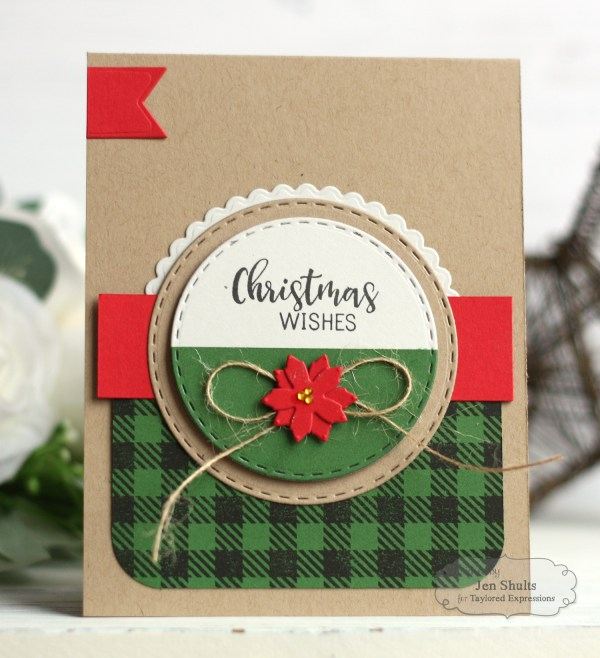 Season's Greetings handmade card by Jen Shults, stamps, dies and supplies from Taylored Expressions, deconstructingjen.com