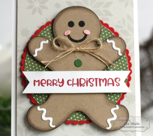 Merry Christmas by Jen Shults, handmade card using stamps and dies from Taylored Expressions. deconstructingjen.com