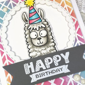 Happy Birthday Llama by Jen Shults, stamps and dies from Taylored Expressions.