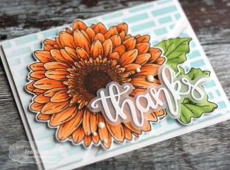 Handmade thank you card by Jen Shults, stamps and dies from Taylored Expressions, copic coloring