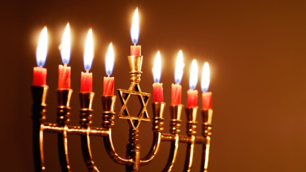 Menorah and Hanukkah ... The photo is taken from ... https://www.myjewishlearning.com/article/the-hanukkiyah-menorah/
