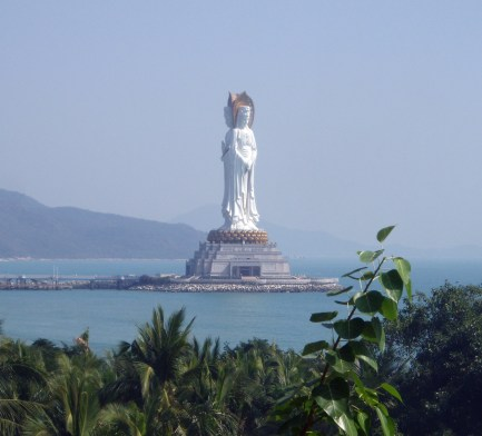 China, Guanyin of Nanshan sculpture of Buddha, three-faced, 108 meters tall ... The photo is taken from ... https://en.wikipedia.org/wiki/Guanyin_of_Nanshan#/media/File:HainanSanya2.jpg